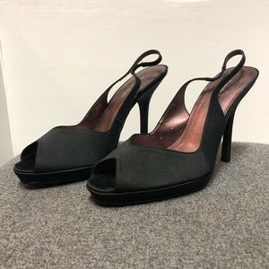 Amanda Smith Black Satin Slingback Peep Heel 8.5